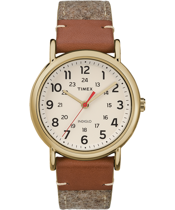 Weekender 38mm Fabric with Leather Watch Gold-Tone/Tan/Cream large