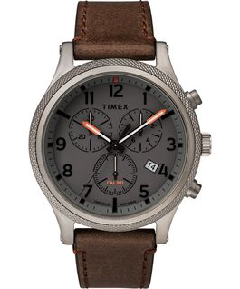 Allied LT Chronograph 42mm Leather Strap Watch Gray/Brown large
