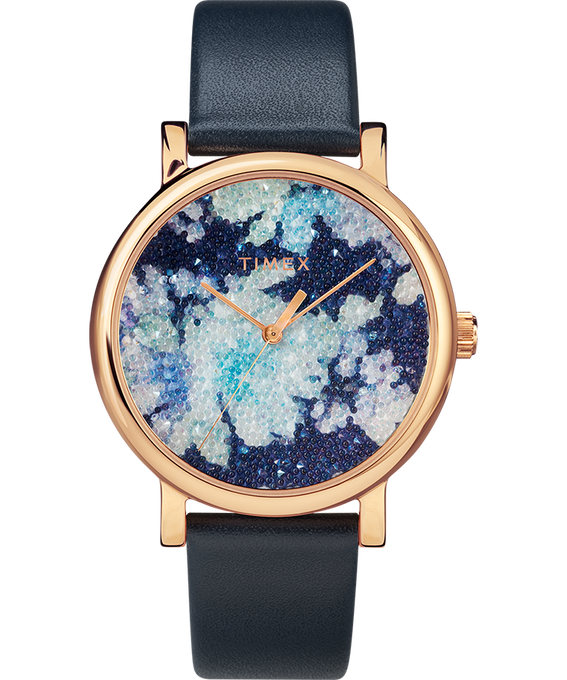Crystal Bloom with Swarovski Fabric 38mm Leather Watch Rose-Gold-Tone/Blue (large)