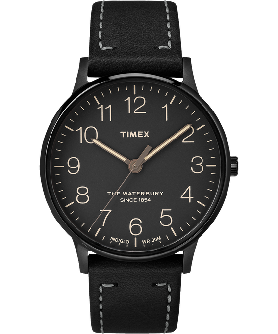 Waterbury 40mm Classic Leather Strap Watch Black/Black large