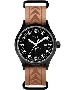 Timex x Keone Nunes 40mm Leather Strap Watch Black/Brown large