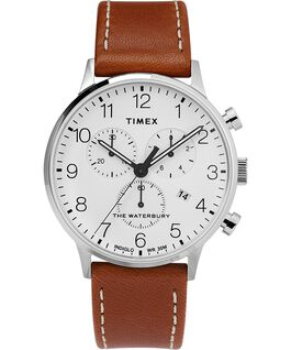 Waterbury 40mm Classic Chrono with Leather Strap Watch Stainless-Steel/Tan/White large