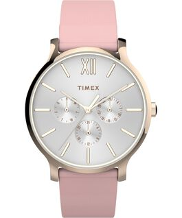 Transcend Multifunction 38mm Leather Strap Watch Rose-Gold-Tone/Pink/White large