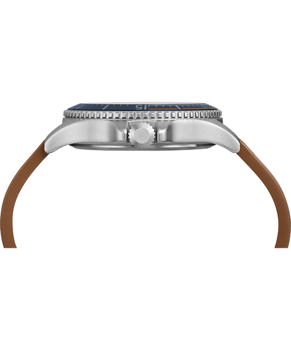 Expedition Ranger Solar 43mm Leather Strap Watch Silver-Tone/Tan/Blue large