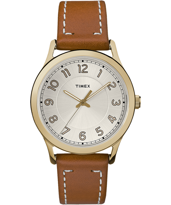 New England 36mm Leather Watch Gold-Tone/Brown/Cream large