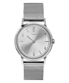 Marlin 34mm Hand Wound Stainless Steel Mesh Bracelet Watch Stainless-Steel/White large