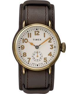 Welton 38mm Leather Strap Watch Bronze-Tone/Brown/Cream large