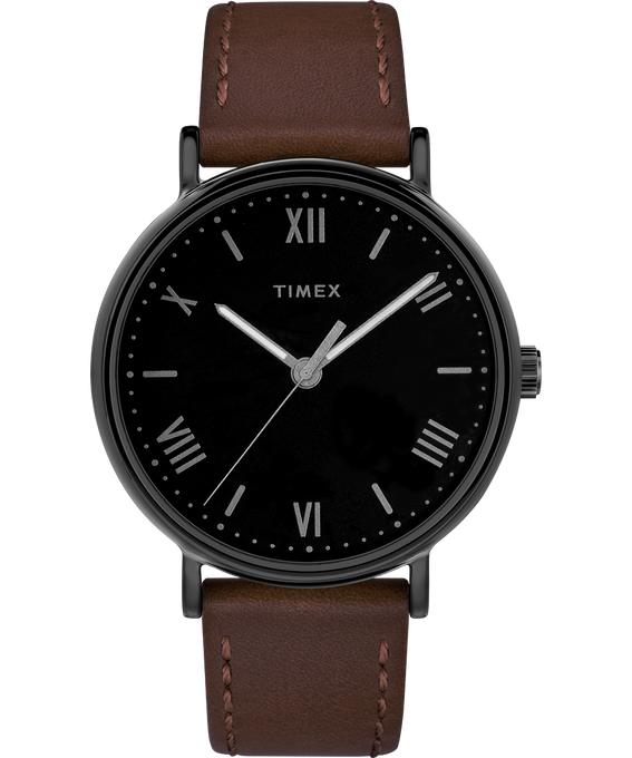 Southview 41mm Leather Watch Black/Brown large