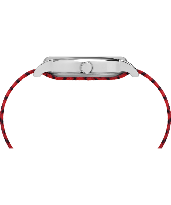 Timex x Peanuts - Linus 38mm Fabric Strap Watch Silver-Tone/Red/White large