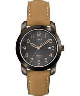 Highland Street 39mm Leather Watch Black/Tan large