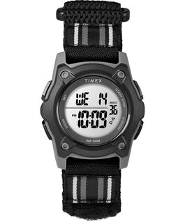 Youth Digital 35mm Double Layer Striped Nylon Strap Watch Gray/Black large