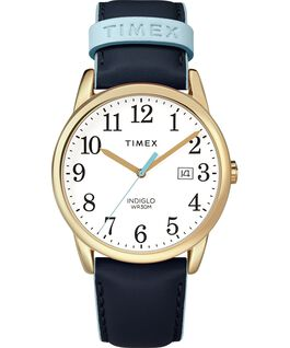 Easy Reader Color Pop 38mm Leather Strap Watch Gold-Tone/Blue/White large