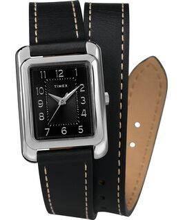Addison Double Wrap 25mm Leather Strap Watch Chrome/Black large