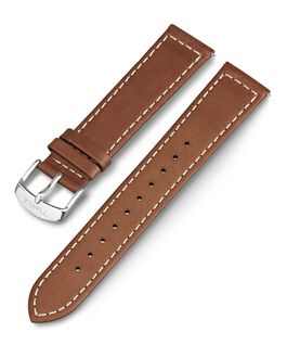 20mm Leather with White Stitching Replacement Strap Brown large