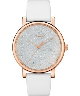 Crystal Opulence with Full Swarovski Dial 38mm Leather Strap Watch Gold-Tone/White large