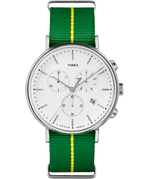 Fairfield Chronograph 41mm Nylon Strap Watch Silver-Tone/Green/White large
