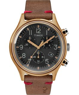 MK1 Chronograph Steel 42mm Leather Strap Watch Bronze-Tone/Brown/Black large