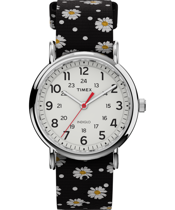 Weekender Patterns 38mm Nylon Strap Watch Chrome/Black/White large