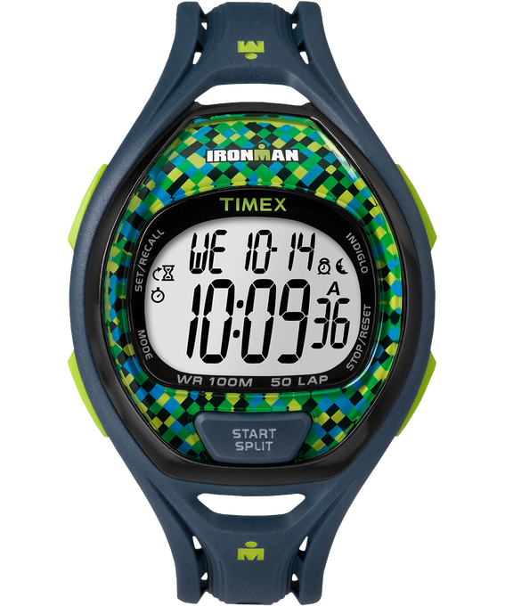 IRONMAN Sleek 50 Full-Size 42mm Resin Strap Watch Blue/Green large
