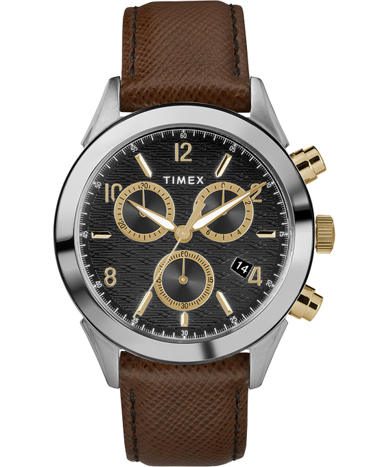 Torrington Mens Chronograph 40mm Leather Strap Watch Two-Tone/Brown/Black/Gold-Tone large