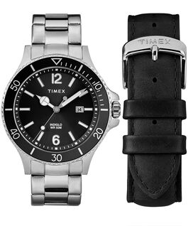 Harborside 43mm Bracelet Watch Gift Set With Extra Strap Chrome/Silver-Tone/Black large