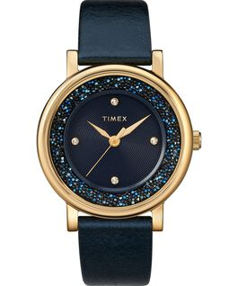 Crystal Opulence 38mm Leather Strap Watch Gold-Tone/Blue large