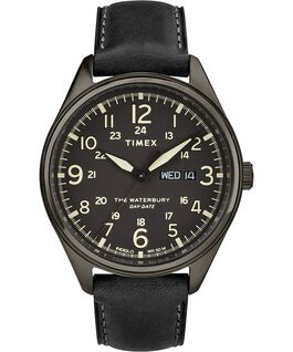 Waterbury Traditional Day Date 42mm Leather Strap Watch Black large