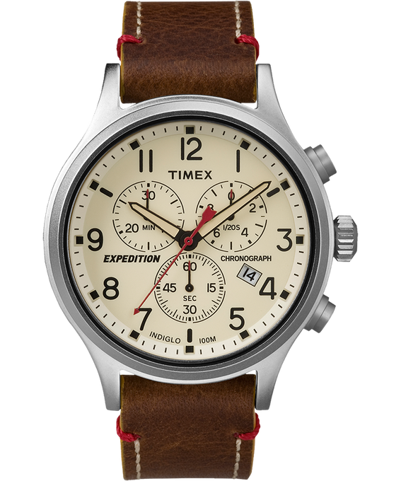 Expedition Scout Chronograph 42mm Leather Watch Silver-Tone/Brown/Natural large