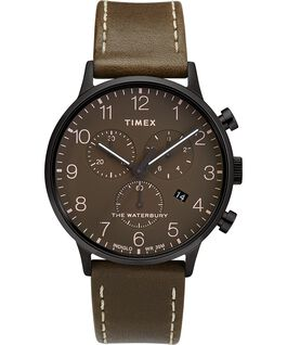 Waterbury 40mm Classic Chrono with Leather Strap Watch Black/Brown/Olive large