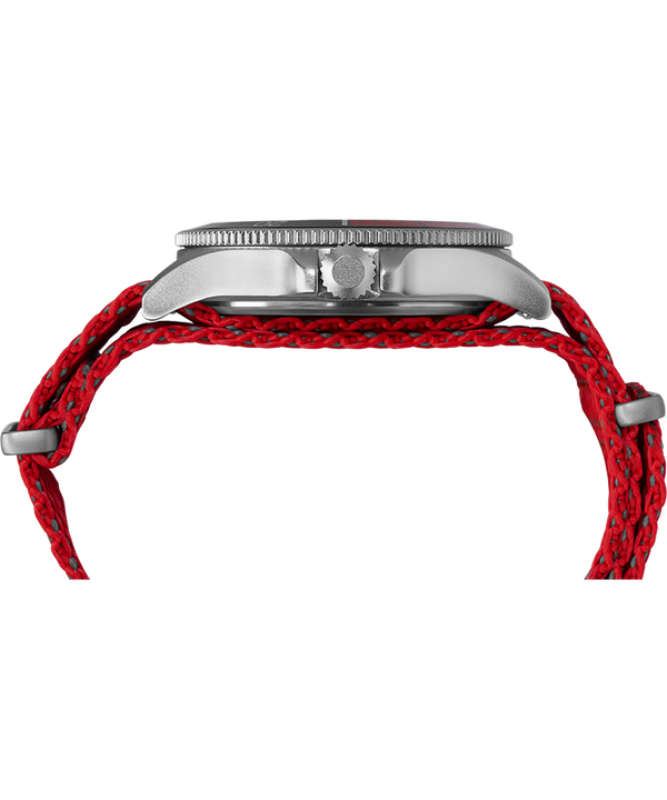 Allied® Coastline 43mm Fabric Strap Watch Silver-Tone/Red/Black large