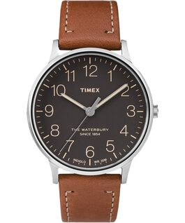 Waterbury 40mm Classic Leather Strap Watch Stainless-Steel/Tan/Black large