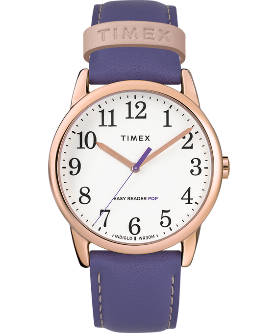 Easy-Reader-38mm-Exclusive-Color-Pop-Leather-Womens-Watch Rose-Gold-Tone/Purple/White large