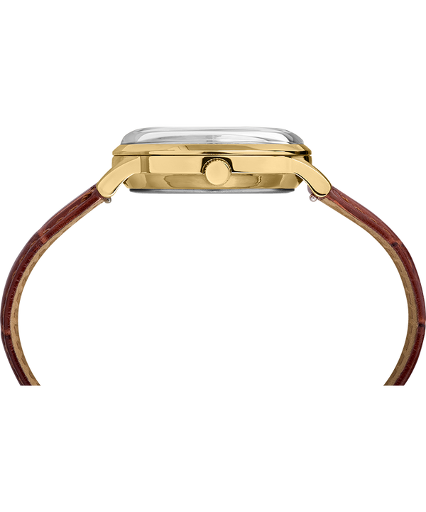 Marlin® Hand-Wound 34mm Leather Strap Watch Brown/Gold-Tone large