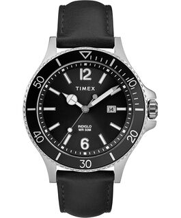 Harborside 42mm Leather Strap Watch Chrome/Black large
