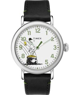 Timex x Peanuts St Paddys Day Standard 40mm Leather Strap Watch Silver-Tone/Black/White large