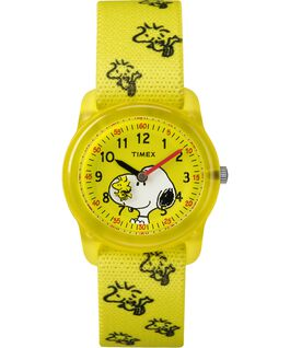 Peanuts 28mm Elastic Fabric Strap Watch Yellow large