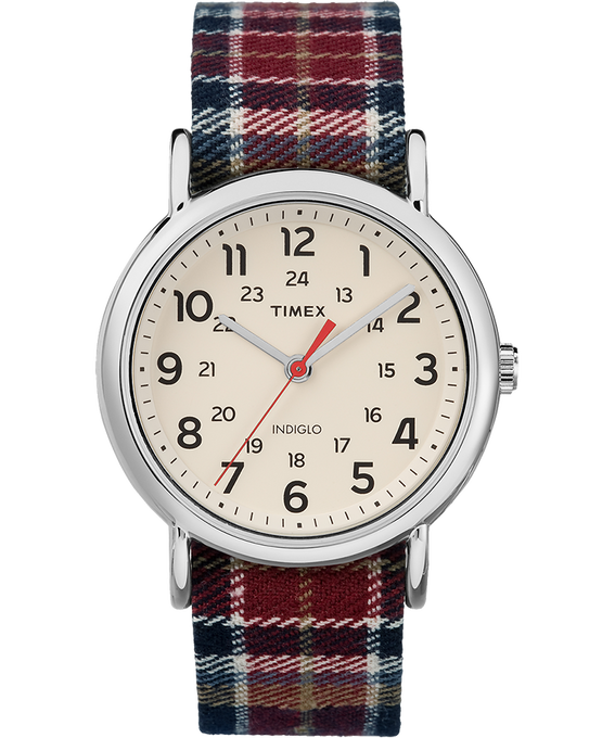 Weekender Plaid 38mm Fabric Strap Watch Silver-Tone/Cream large