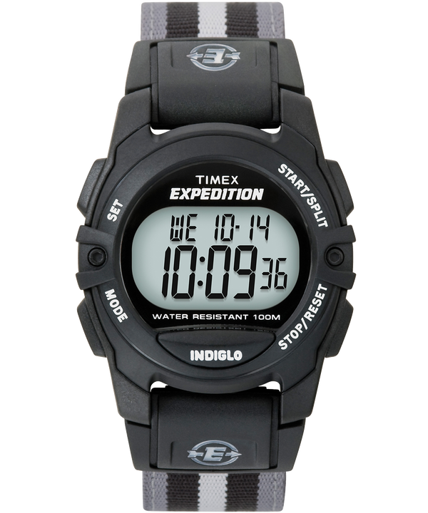 Expedition Chrono-Alarm-Timer 33mm Fabric Strap Watch Black/Gray large