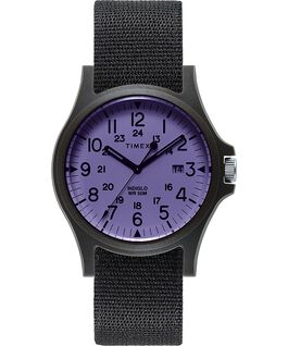 Acadia 40mm Fabric Strap Watch Black/Purple large