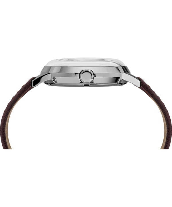 Marlin® Automatic 40mm Leather Strap Watch Burgundy/Silver-Tone large