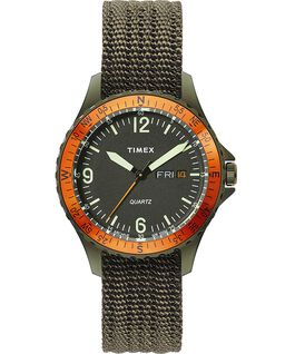 Navi Land 38mm Fabric Strap Watch Stainless-Steel/Green/Black large