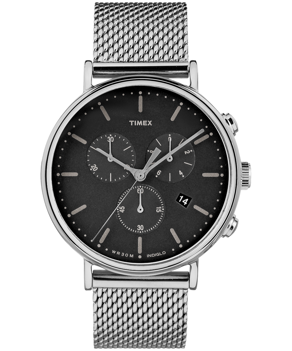 Fairfield Chronograph 41mm Mesh Band Watch Silver-Tone/Stainless-Steel/Black large