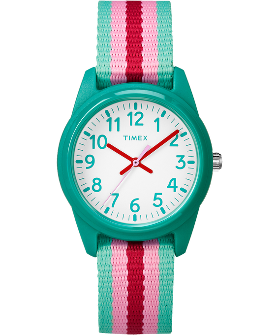 30mm Kids Striped Nylon Analog Watch Blue/Pink/White large